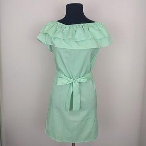 Off Shoulder Ruffle Green White Striped Mini Dress